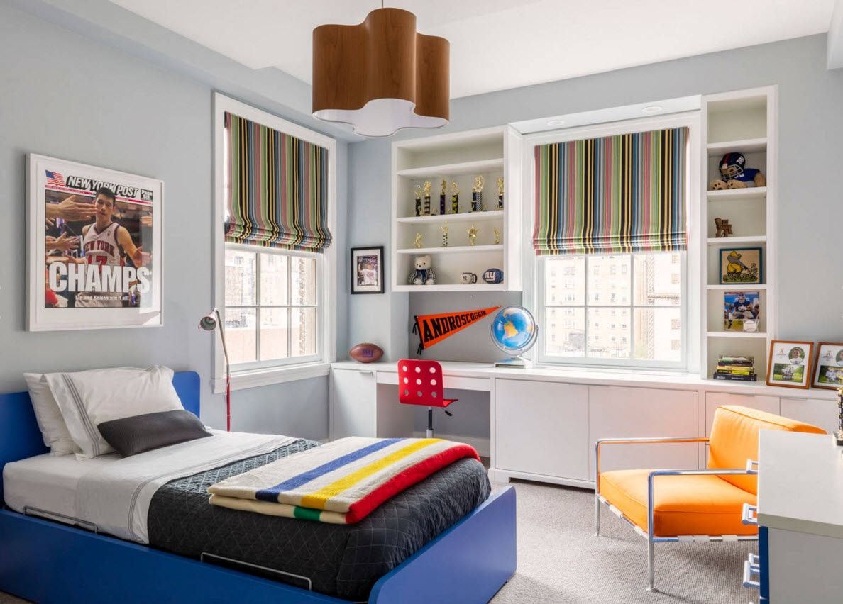 Boy's Room Design Ideas for every Age and Situation. Unusual and unrepetanle design for the young kid with different functional areas