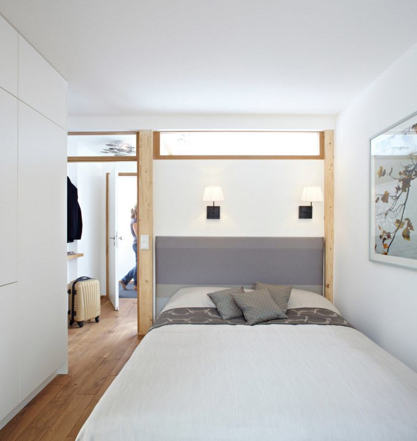 Small Apartment Light Color Design Theme. The bed is transformed and takes a lot of space