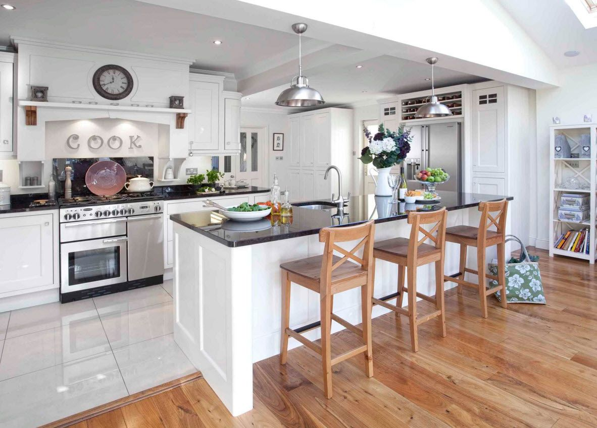 White Floor as an Exquisite Decoration Idea for Modern Interiors. Nice high wooden bar stools are the only accent element in the kitchen