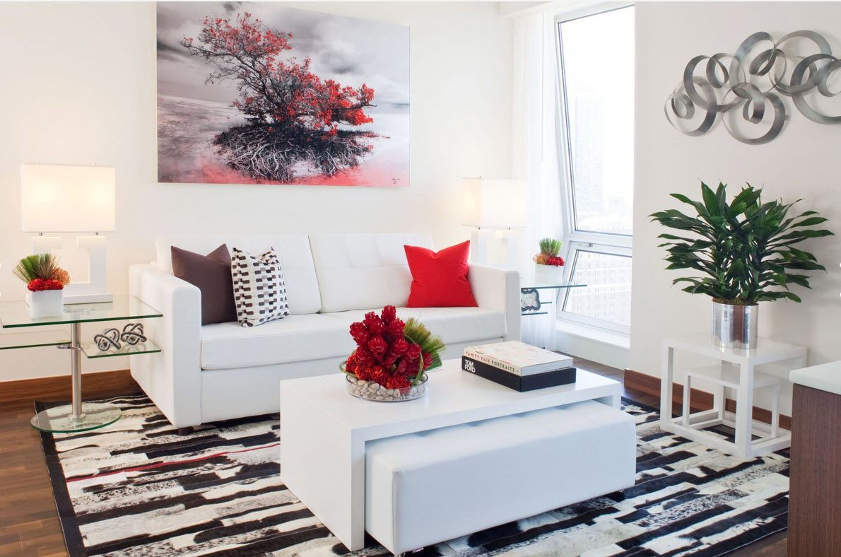 White ottoman with folding bench in the absolutely white room with accents
