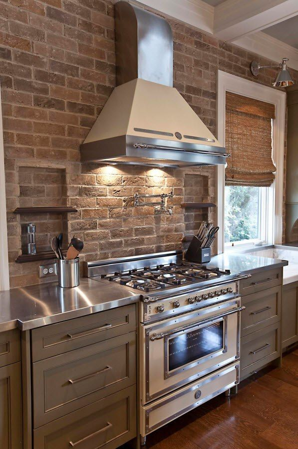 Wall Brickwork Design Ideas for Modern Living Spaces Interior. Amazing mix of the extractor and the brick laid splashback in the kitchen
