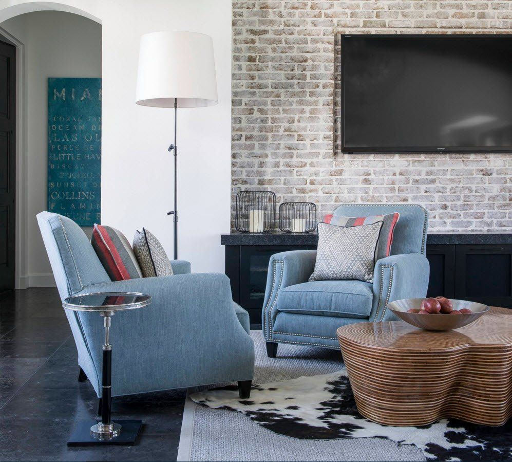 Wall Brickwork Design Ideas for Modern Living Spaces Interior. Adorable blue upholstered furniture and the fur rug to zone the rest area in the living room