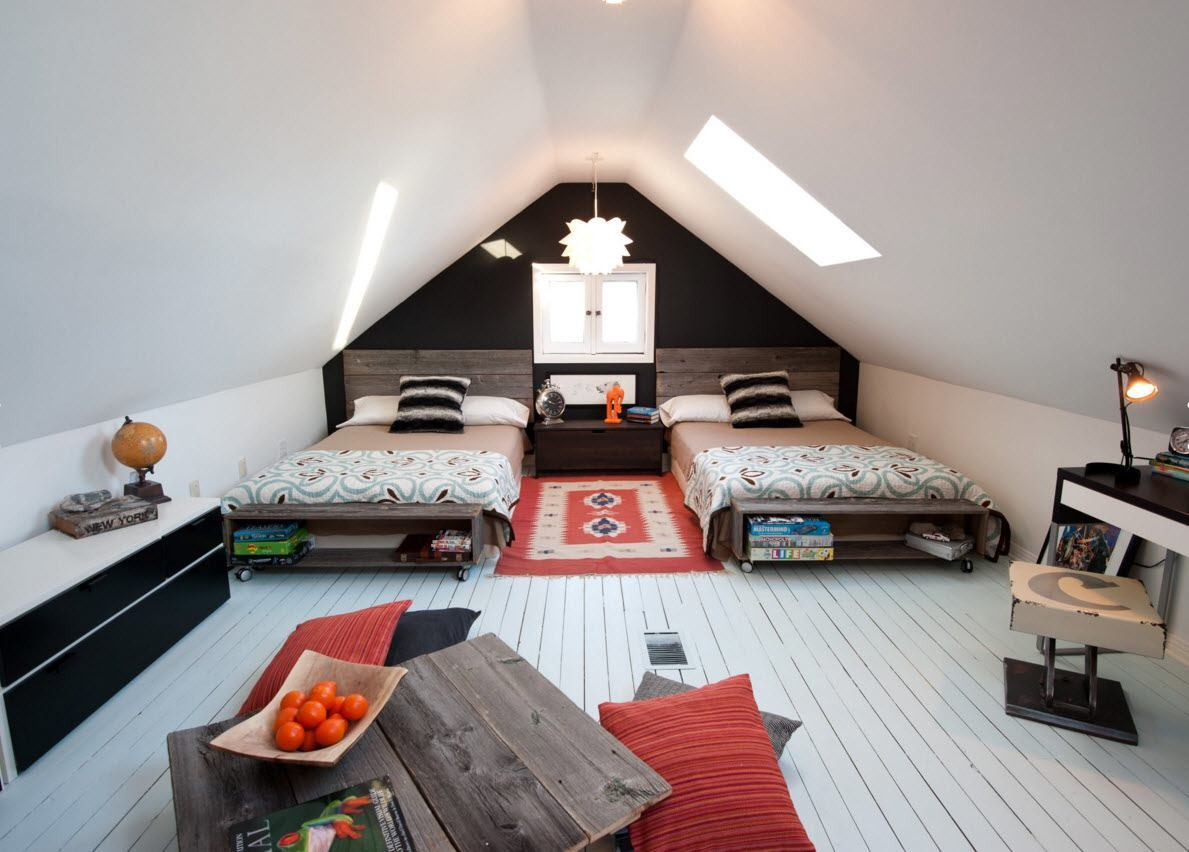 Loft Style Bedroom Design at the Attic. Nice black and white decoration