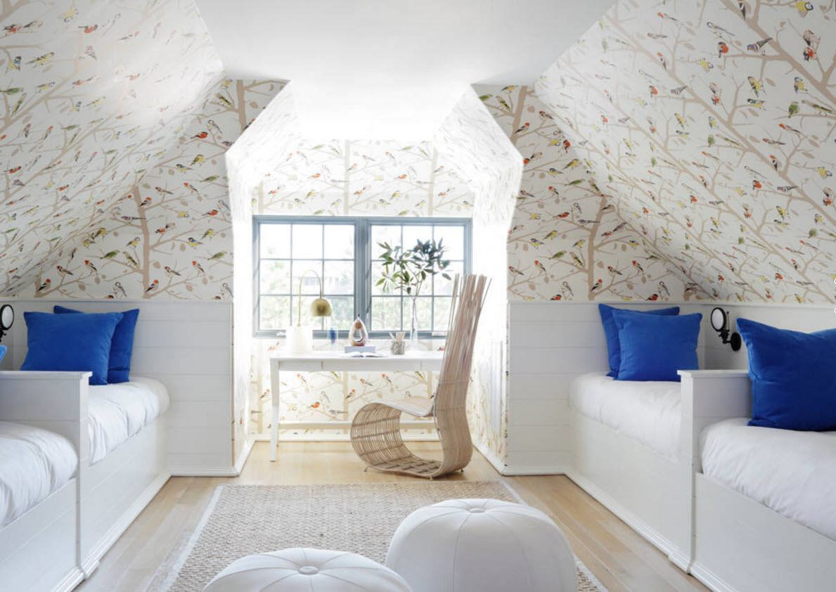 Loft Style Bedroom Design at the Attic. Full of natural light area with light printed wallpaper