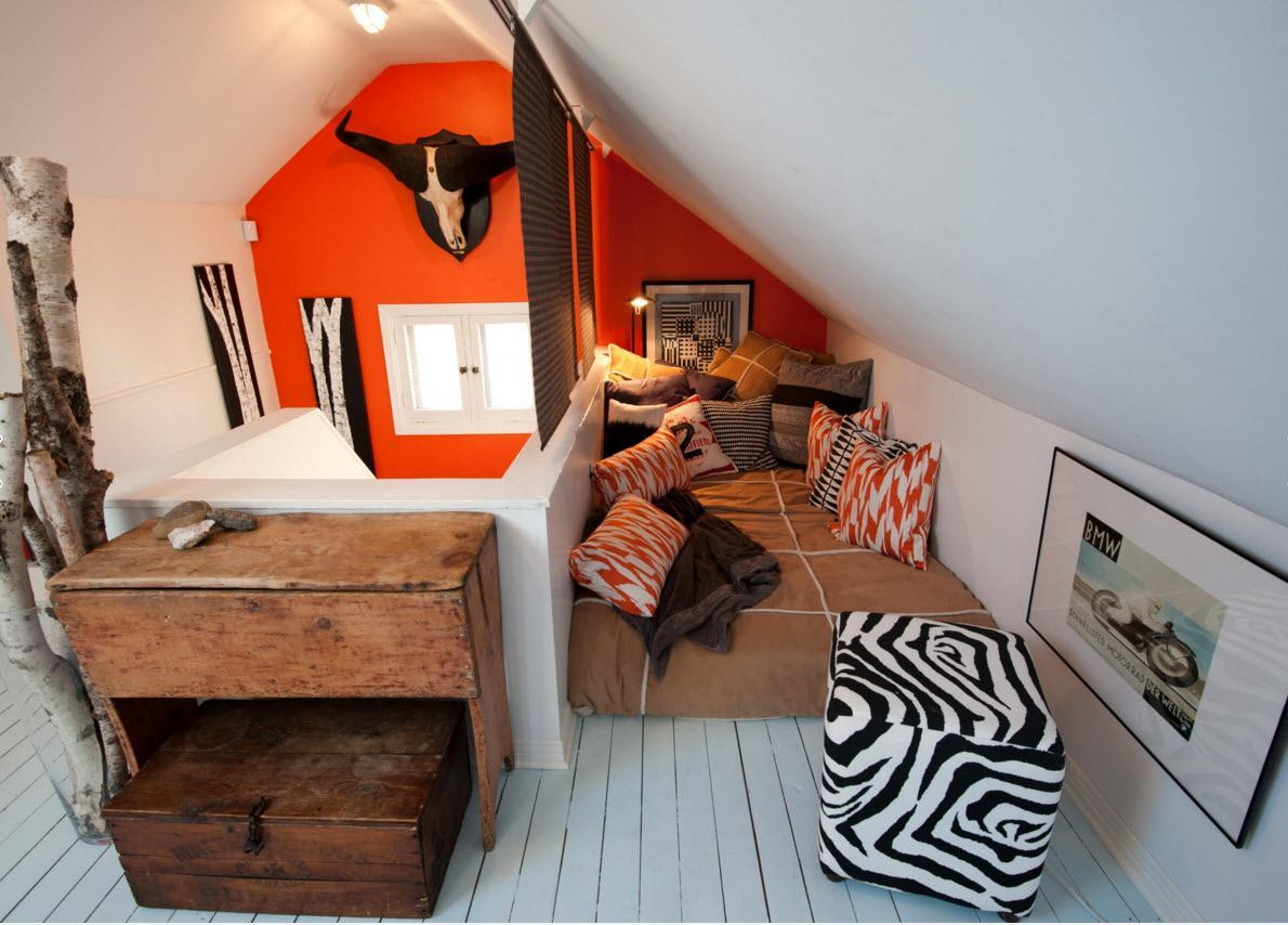 Modern Loft Living Room Design Ideas. Black and white decoration using orange accent wall