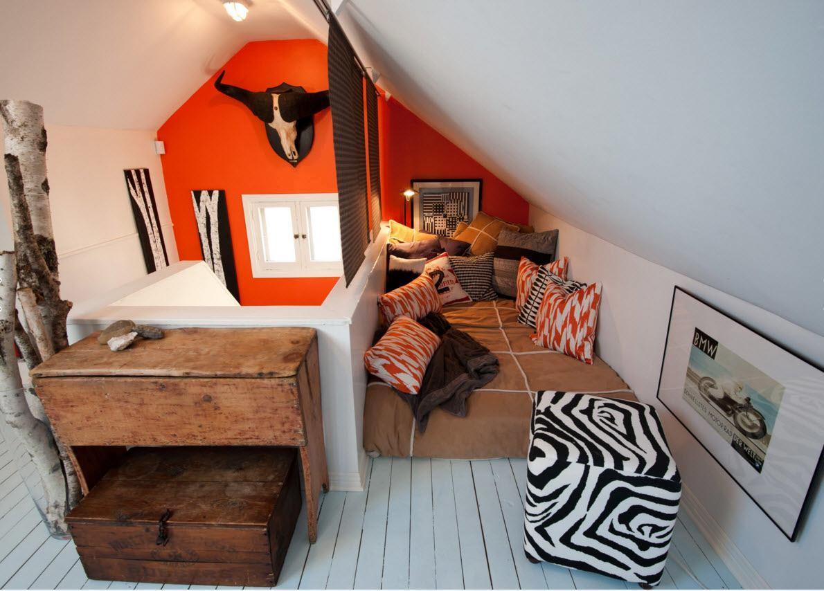 Modern Loft Living Room Design Ideas. Black and white decoration using orange accent wall