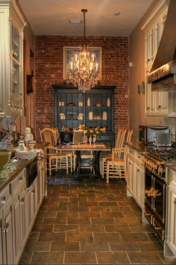 Touch of Provence in the stone and brick trimmed kitchen