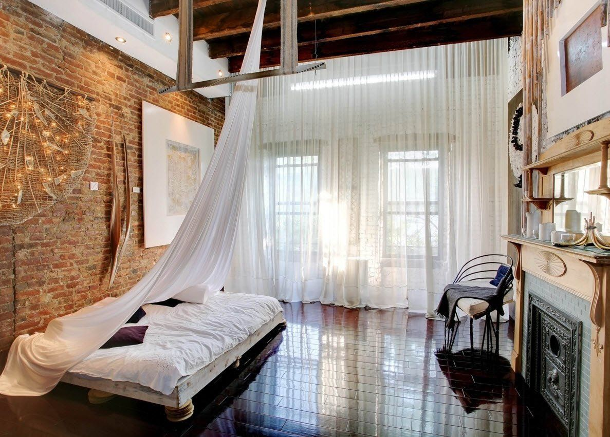 Wall Brickwork Design Ideas for Modern Living Spaces Interior. Open ceiling beams and the imitation of tulle canopy for the bedroom