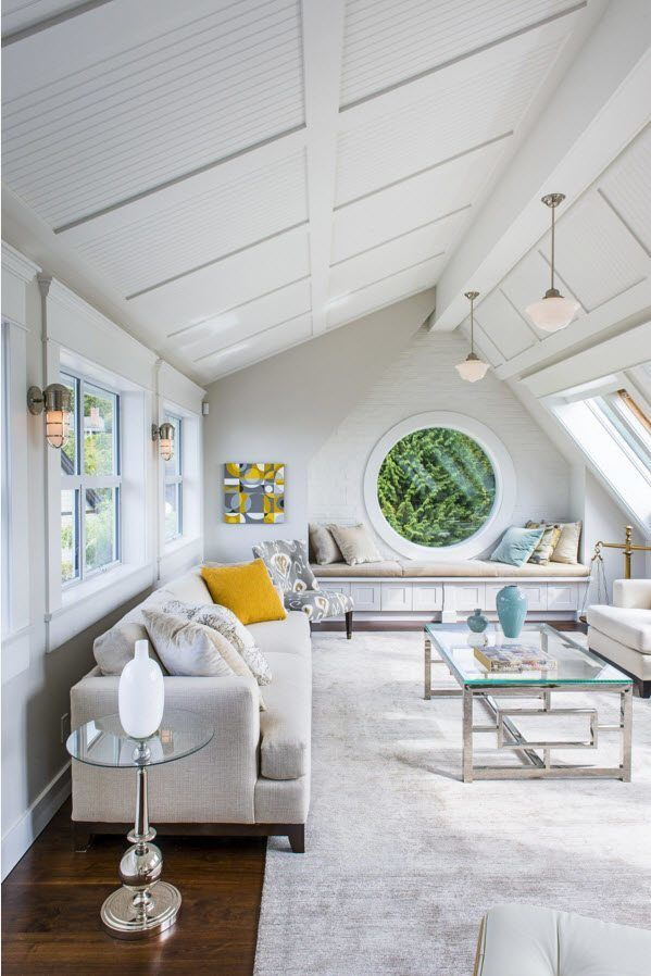 Modern Loft Living Room Design Ideas. Absolutely white trimming of the complicated shaped attic premise