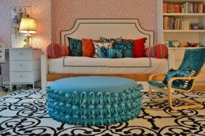 Ottoman as the Part of Modern Interior Design. Absolutely unqiue and unusual design of the central furniture piece