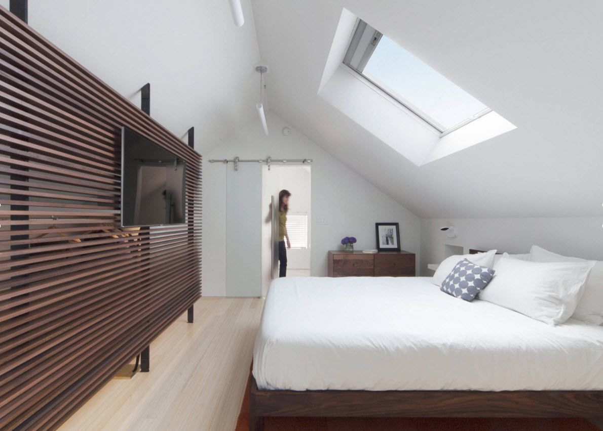 Delightful Loft Style Bedroom Design At The Attic. Wide Accent Dark Wooden Screen With  TV