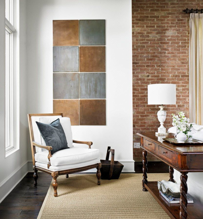 Wall Brickwork Design Ideas for Modern Living Spaces Interior. White armchair and the lamp in the lobby
