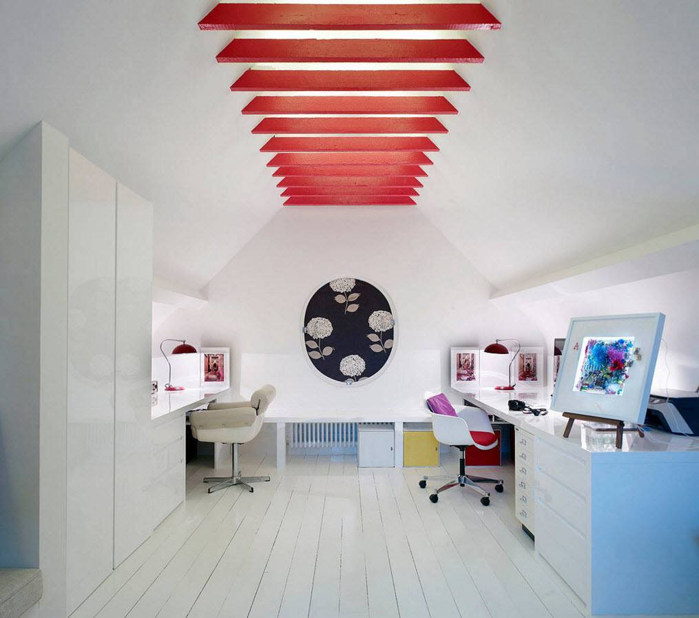Study, Bathroom, Home Theater, Dressing Room Loft Design Ideas. Nice grid of red ceiling beams