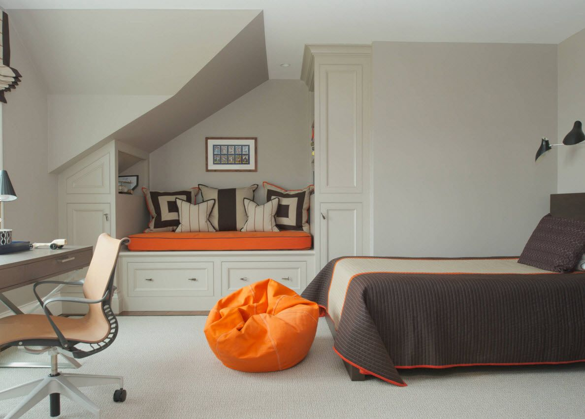 Boy's Room Design Ideas for every Age and Situation. Orange frameless armchair as the accent spot