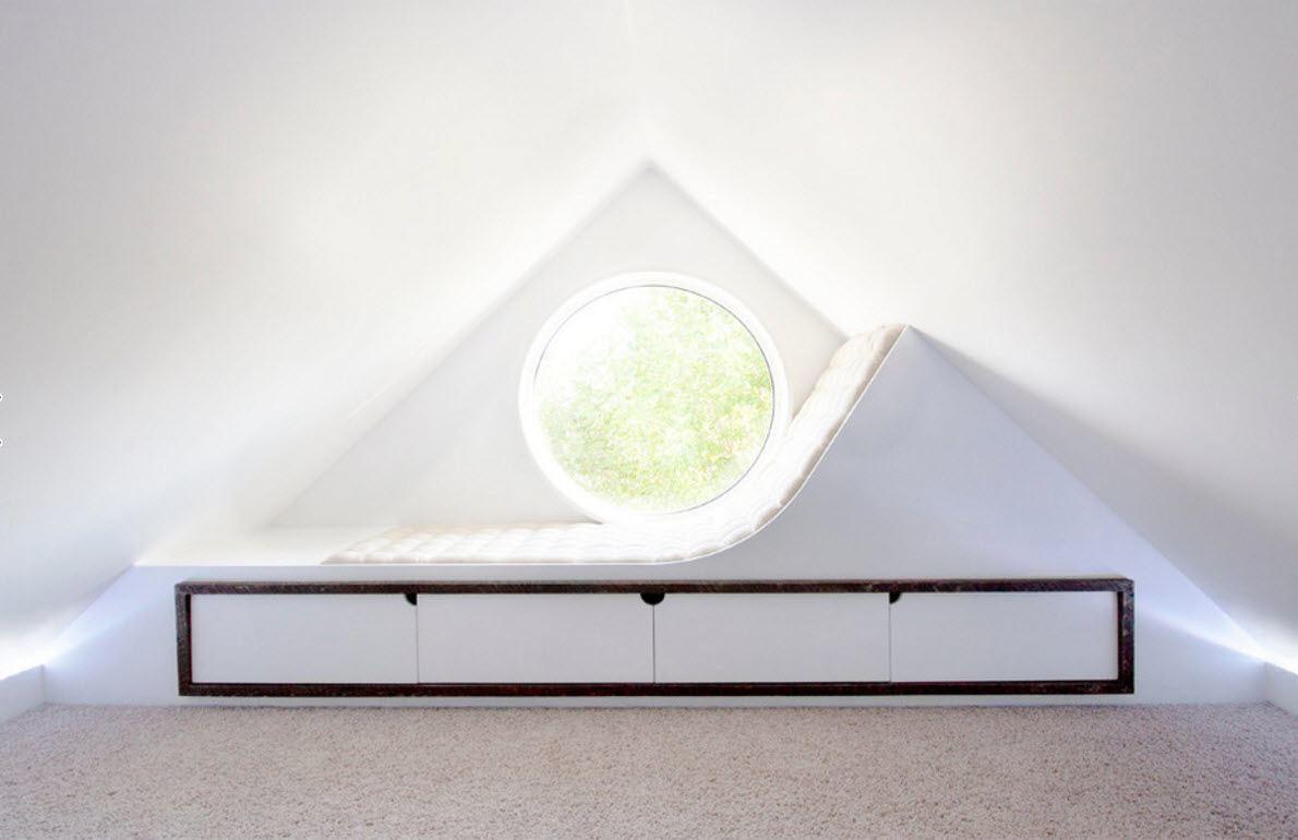 Modern Loft Living Room Design Ideas. Absolutely unusual design of the sleeoer near the window
