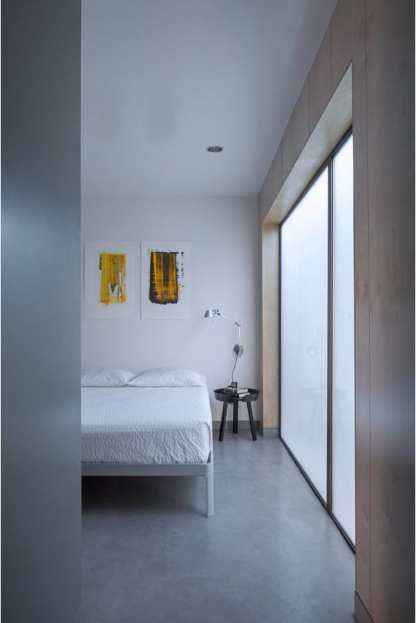 Small Grayish Toned Apartment Design Project. Improvised bedroom has an exit to the terrace