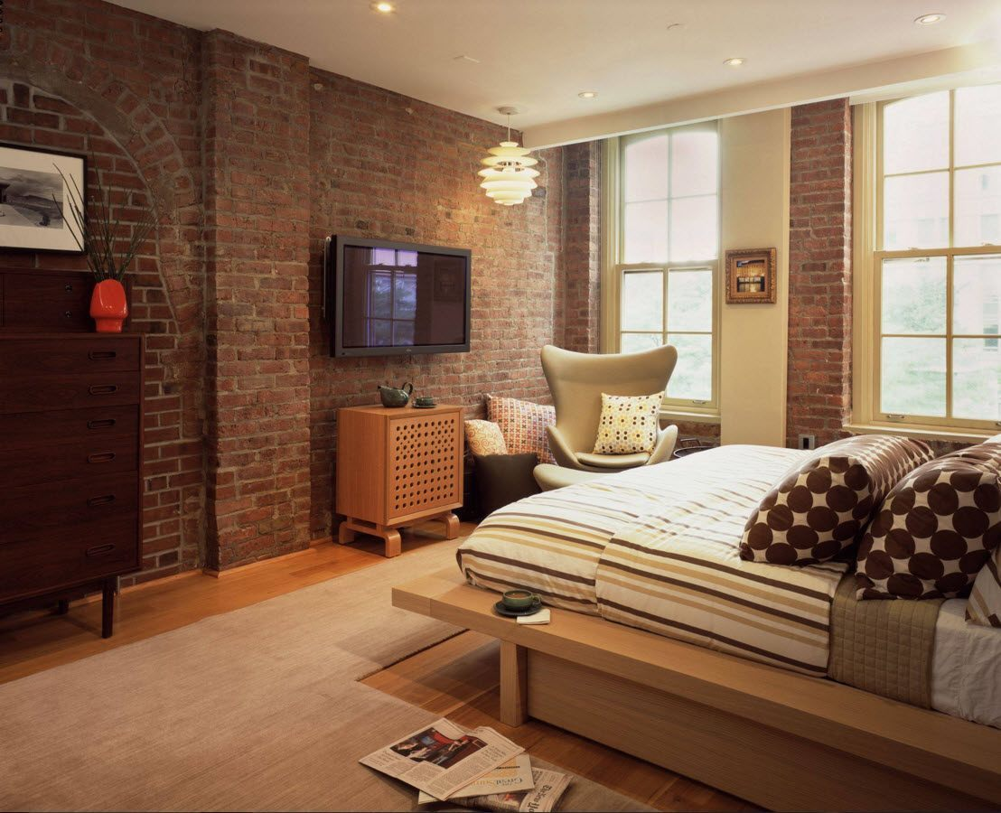 Wall Brickwork Design Ideas for Modern Living Spaces Interior. Industrial bedroom in tender creamy tones