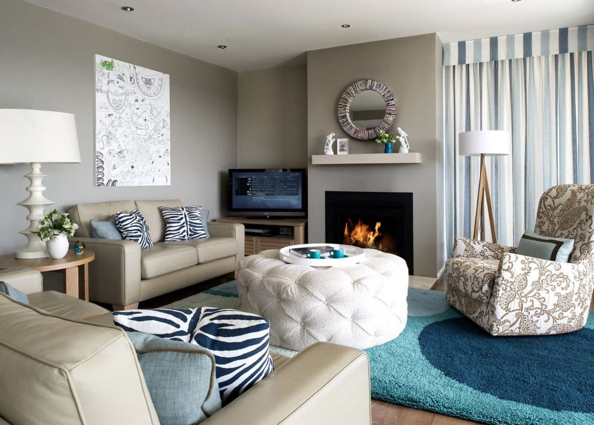 Ottoman as the Part of Modern Interior Design. Marine notes in the room