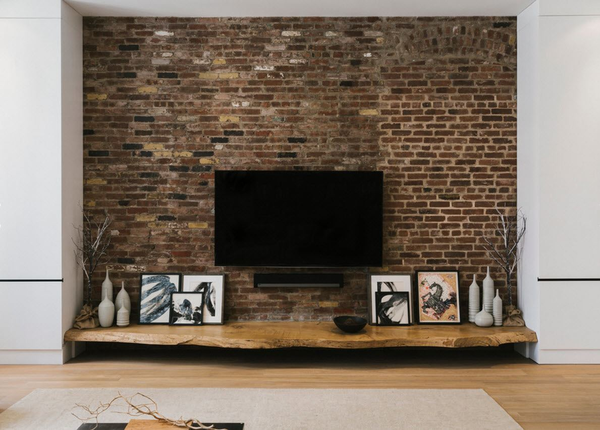 Wall Brickwork Design Ideas for Modern Living Spaces Interior. The whole space of the industrial styled room in the bricks with white grout