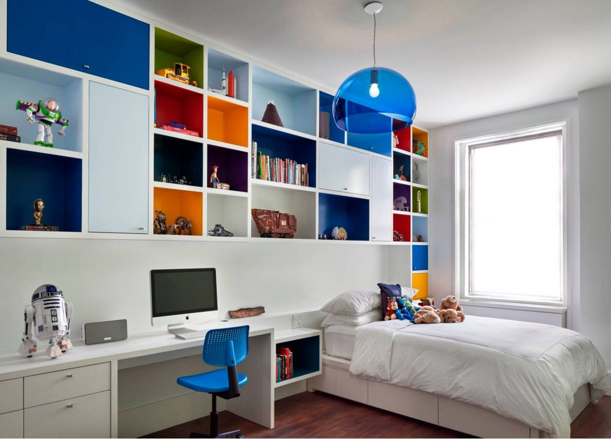 Boy's Room Design Ideas for every Age and Situation. Blue shade for the lamp in the creative furnished premise