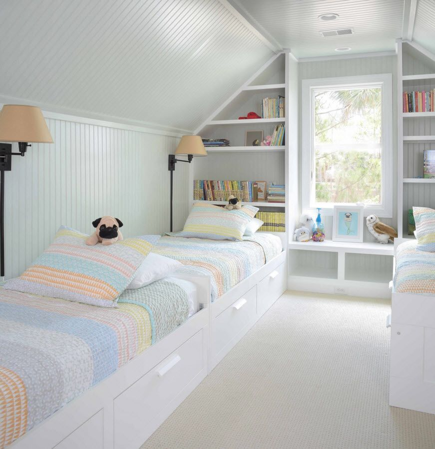 Children's Room Loft Renovation Design Ideas 2016. Snow white trimmed kids' room with bright accents of the bed linen and creamy lampshades