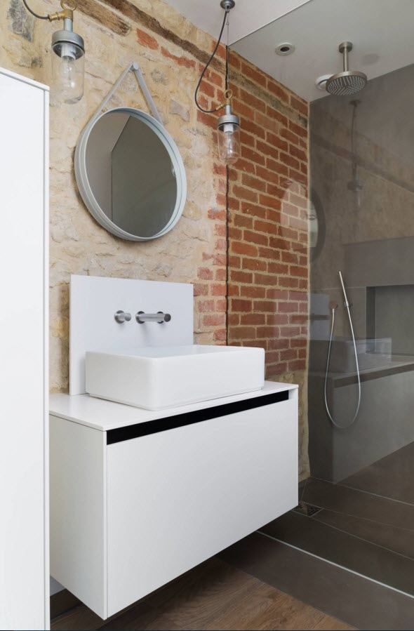 Wall Brickwork Design Ideas for Modern Living Spaces Interior. Nice designed sanitary ware in the industrial styled bathroom