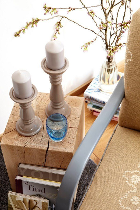 Small Apartment Light Color Design Theme. Original stand for candlesticks