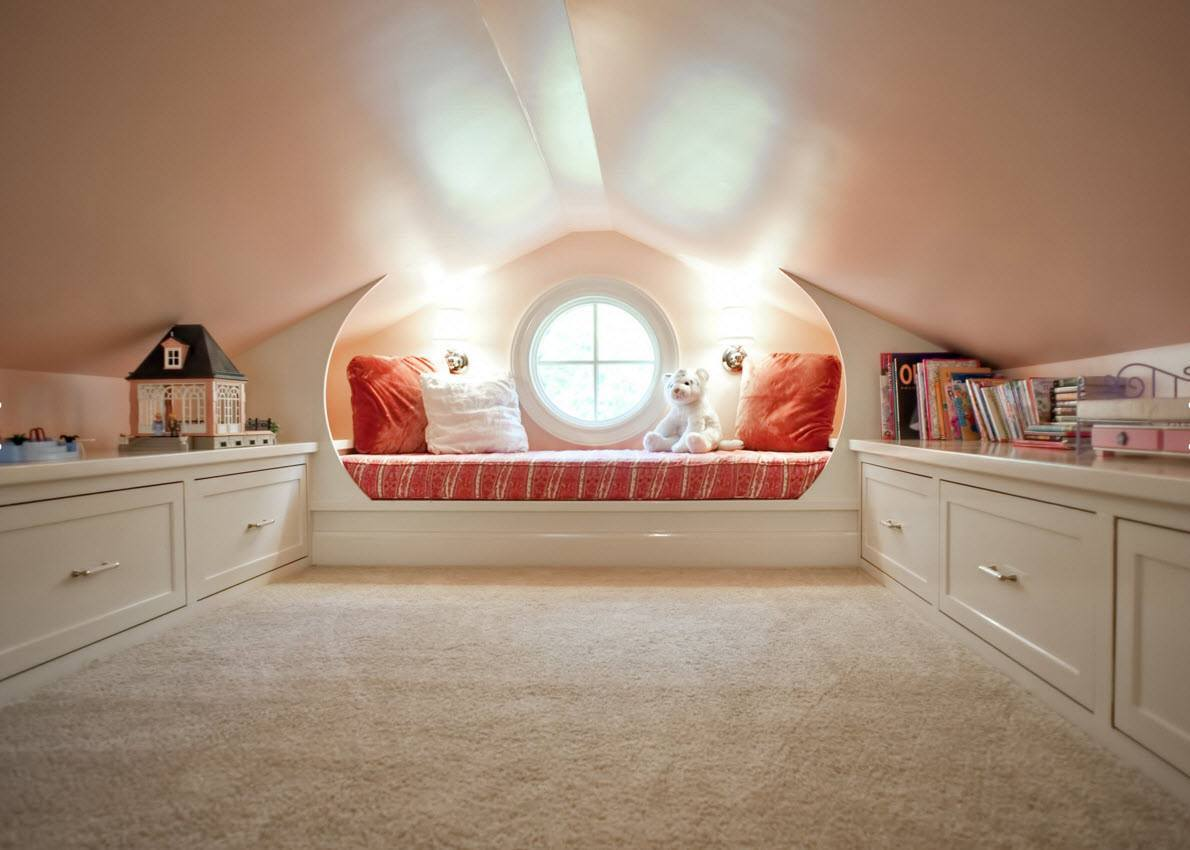Children's Room Loft Renovation Design Ideas 2016. Gorgeous and charming decoration of the fairy-tale small kids' room with the bed at the circular window