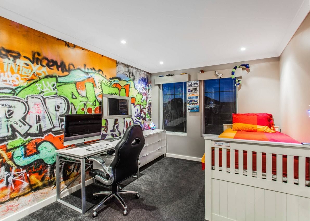 Boy's Room Design Ideas for every Age and Situation. Graffiti wall decoration in the white trimmed space