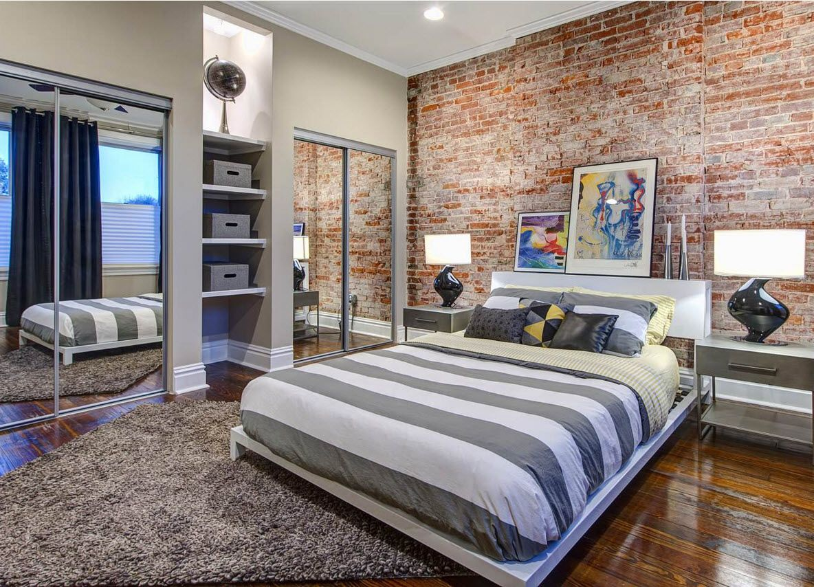 Wall Brickwork Design Ideas for Modern Living Spaces Interior. Bedroom with striped bed linen and headrboard accent area