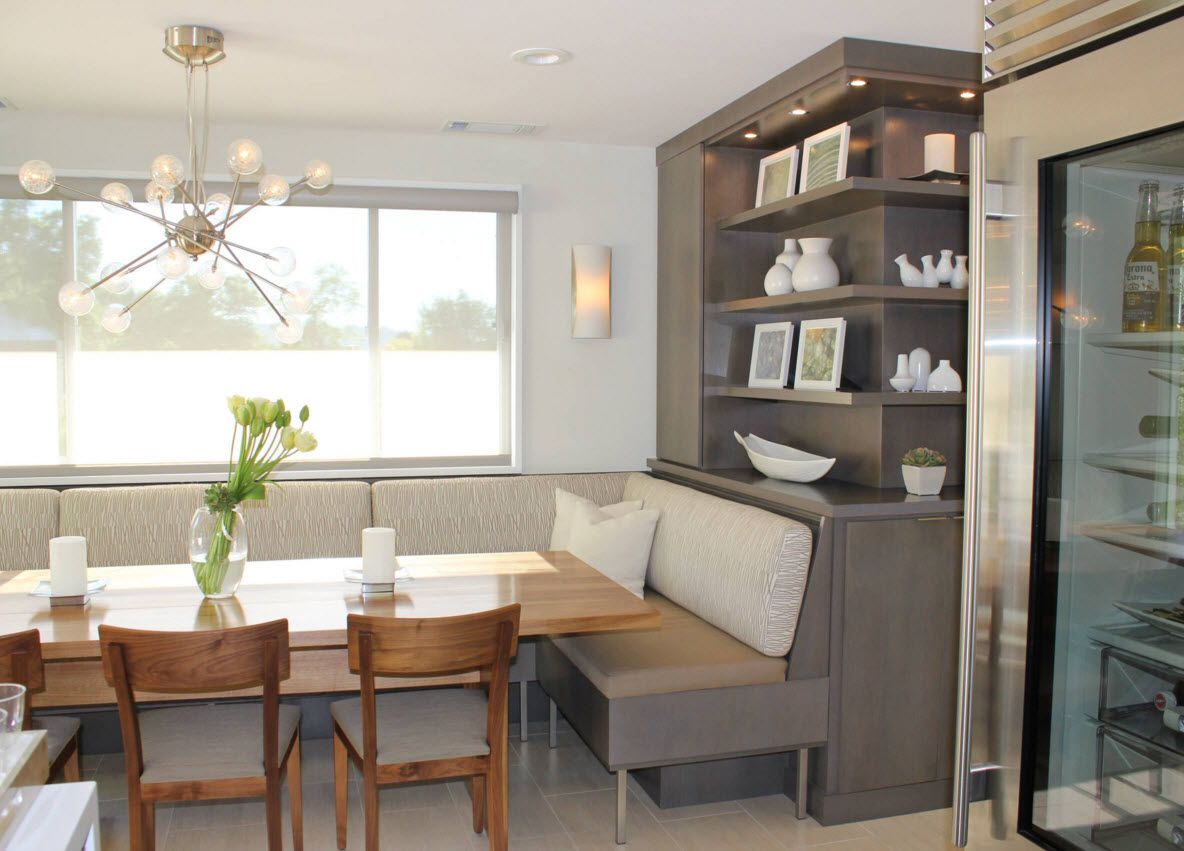 Walnut Furniture for the Modern Interior Decoration. Grayish cupboard and light wooden table in the small dining