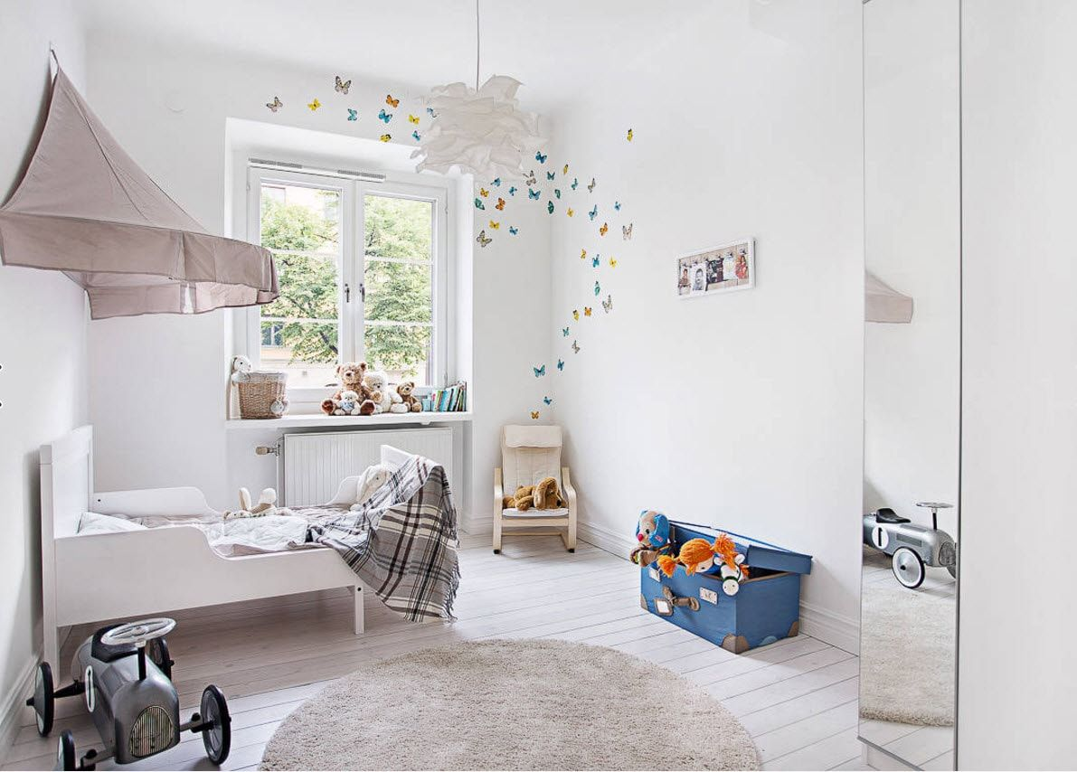 Boy's Room Design Ideas for every Age and Situation.  White decorated area with the slight touch of natural print of the walls