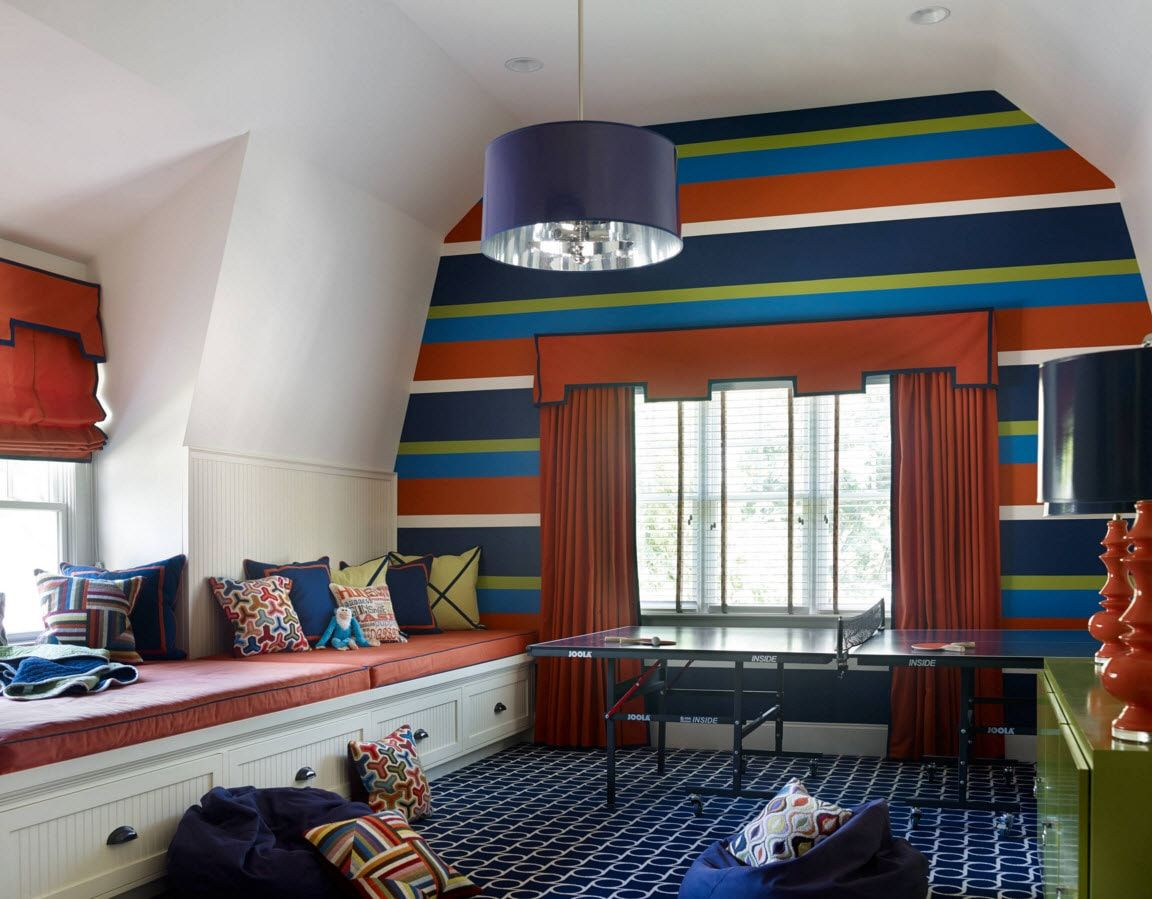 Boy's Room Design Ideas for every Age and Situation.  Colorful accent wall for elder children