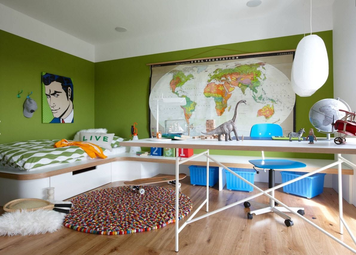 Boy's Room Design Ideas for every Age and Situation. Pistachio oainted walls and photoprints aloong with atlas