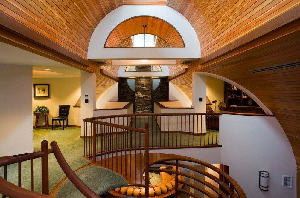 Unusual design of the passages and stairs in the futuristic private house