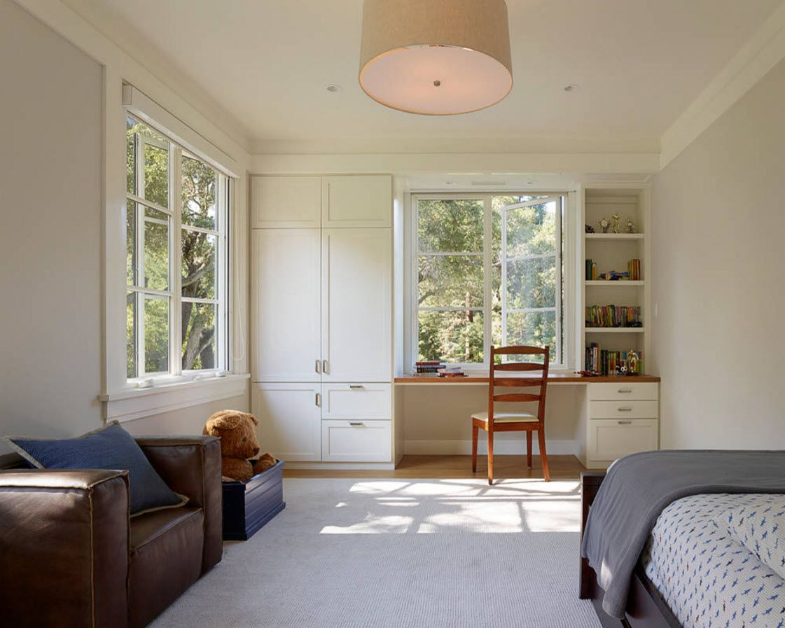 Boy's Room Design Ideas for every Age and Situation. White pastel colored space with plenty of natural light