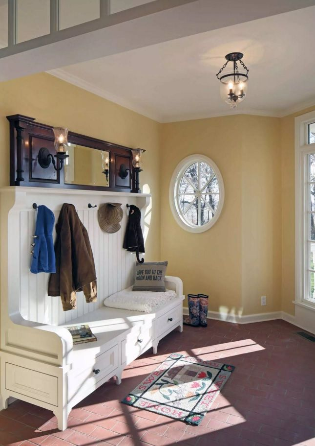 Nice creamy interior with the vintage white rack with drawers