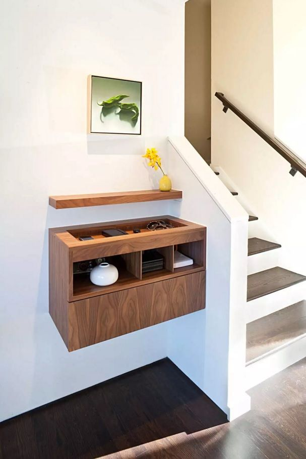 Original Modern Entryway Furniture Photo Collection. Wooden hovering drawer bear the white stairs