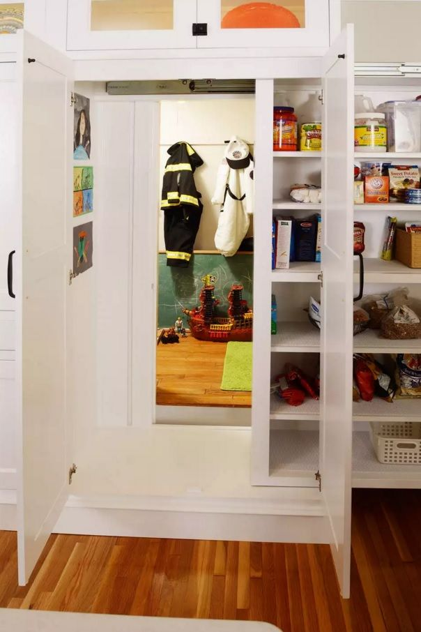 Secret door to the kids' room right in the dressing cabinet