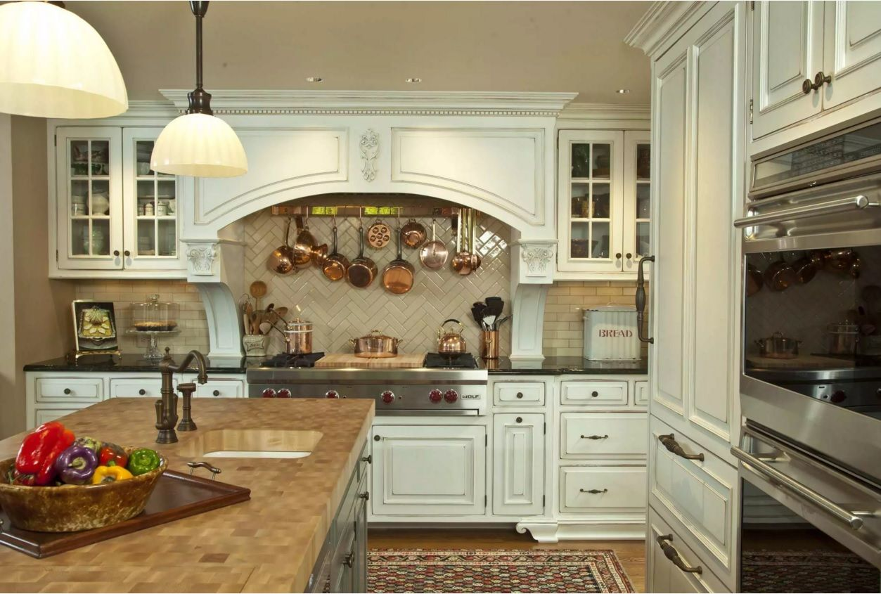 The Main Types of Kitchen Hoods. Photo Gallery and Description. White Provence design for the rustic kitchen in the private house