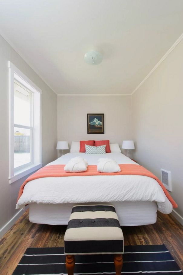 Small Bedroom Decoration Trends Photo. Pink coverlet as an accent for the creamy designed room