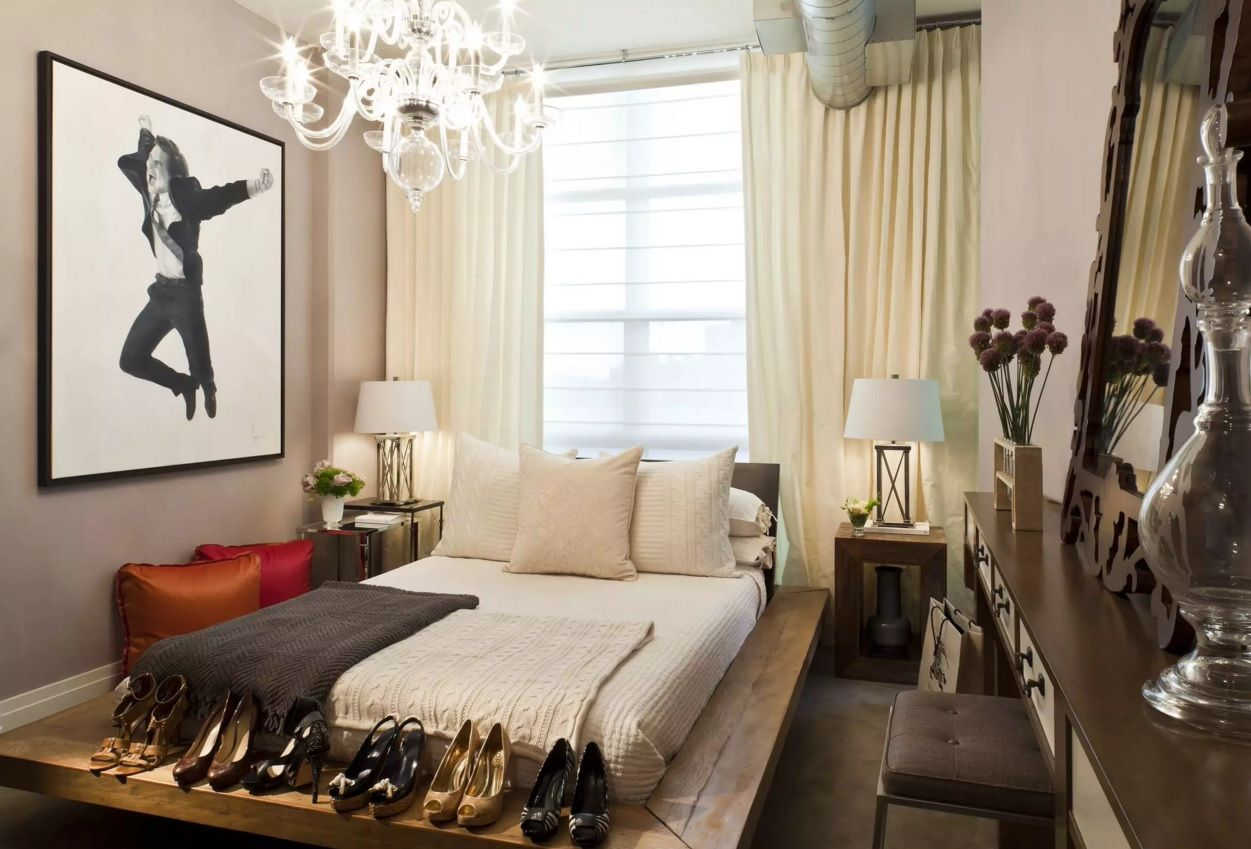 Small Bedroom Decoration Trends Photo. Pastel coffee colors to fecorate the cozy room with footwear shelf at the bed