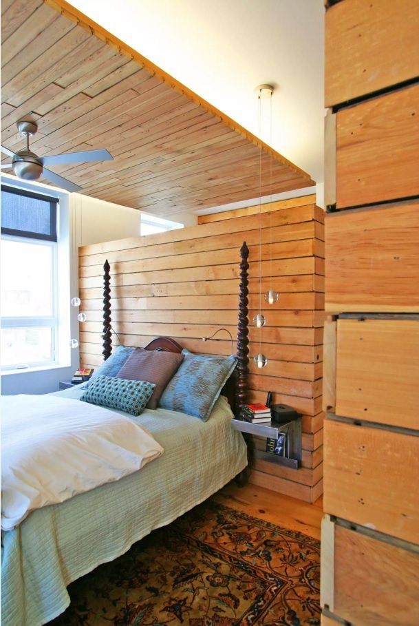 Small Bedroom Decoration Trends Photo. Wooden veneer in the eco styled bedroom with the frame for canopy
