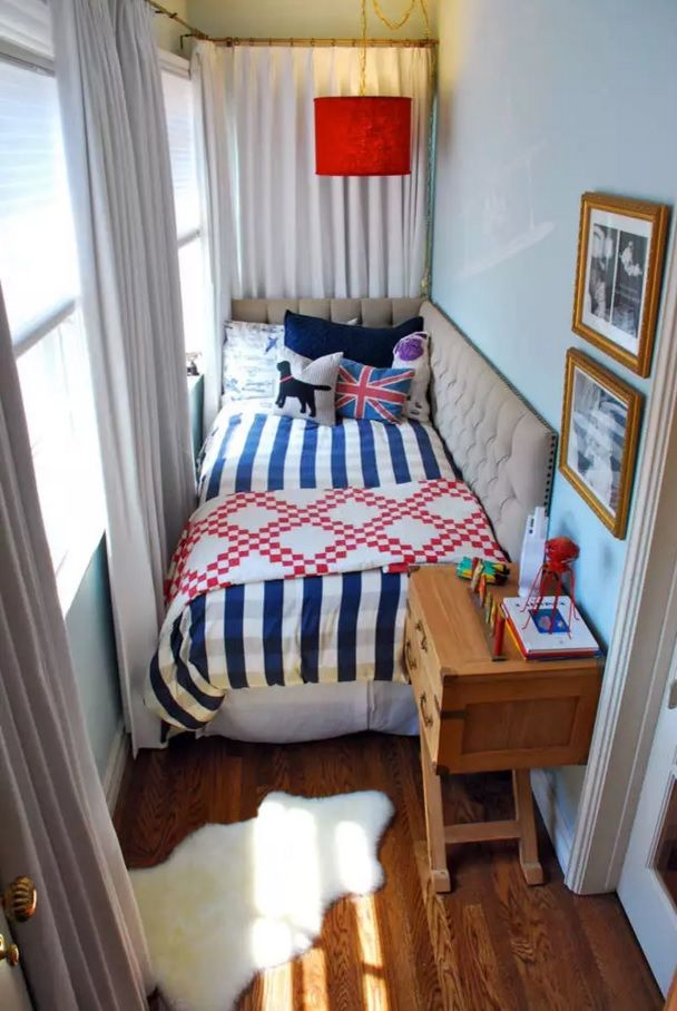 Small Bedroom Decoration Trends Photo. Close up from the high view at the striped linen and tight atmosphere of the light sunk space