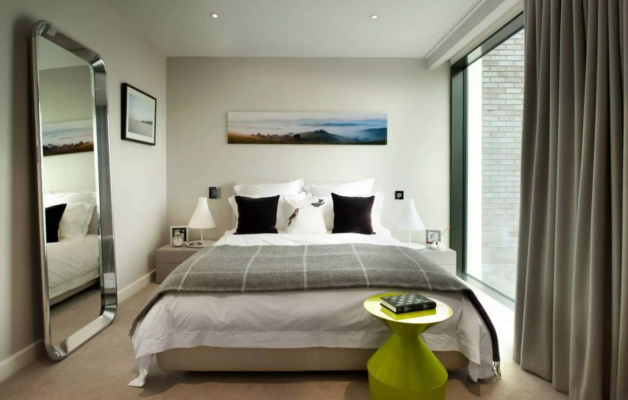 Small Bedroom Decoration Trends Photo. Grayish color theme in the contemporary bedroom