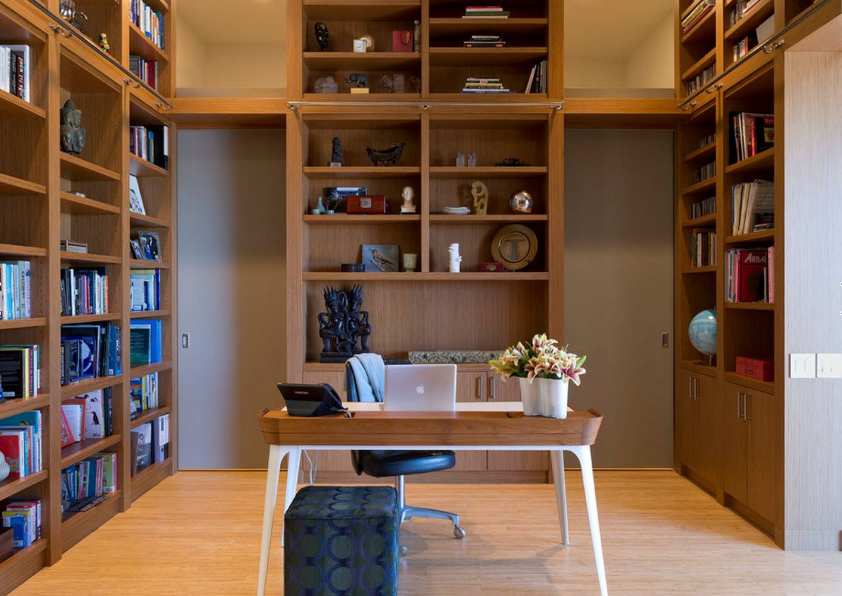 Walnut Furniture for the Modern Interior Decoration. Home office with library