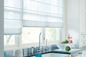 Roller blinds for the kitchen of modern hi-tech styles