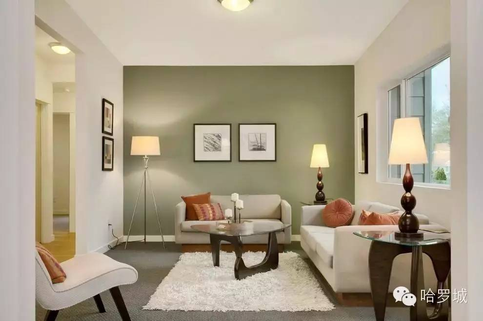 Calmness And Tranquility In The Living Room Is Slightly Dissolved By Dark  Olive Accent Wall