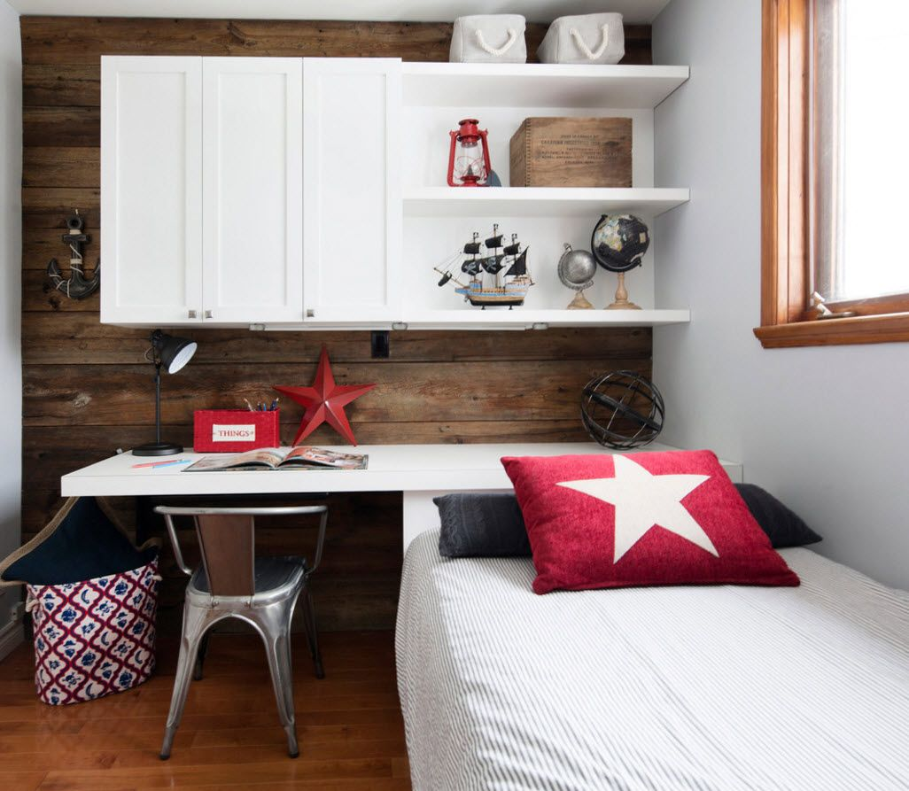 Design Examples of Small Kids' Rooms for Boys Decoration. Capitan America pillow for the schoolboy