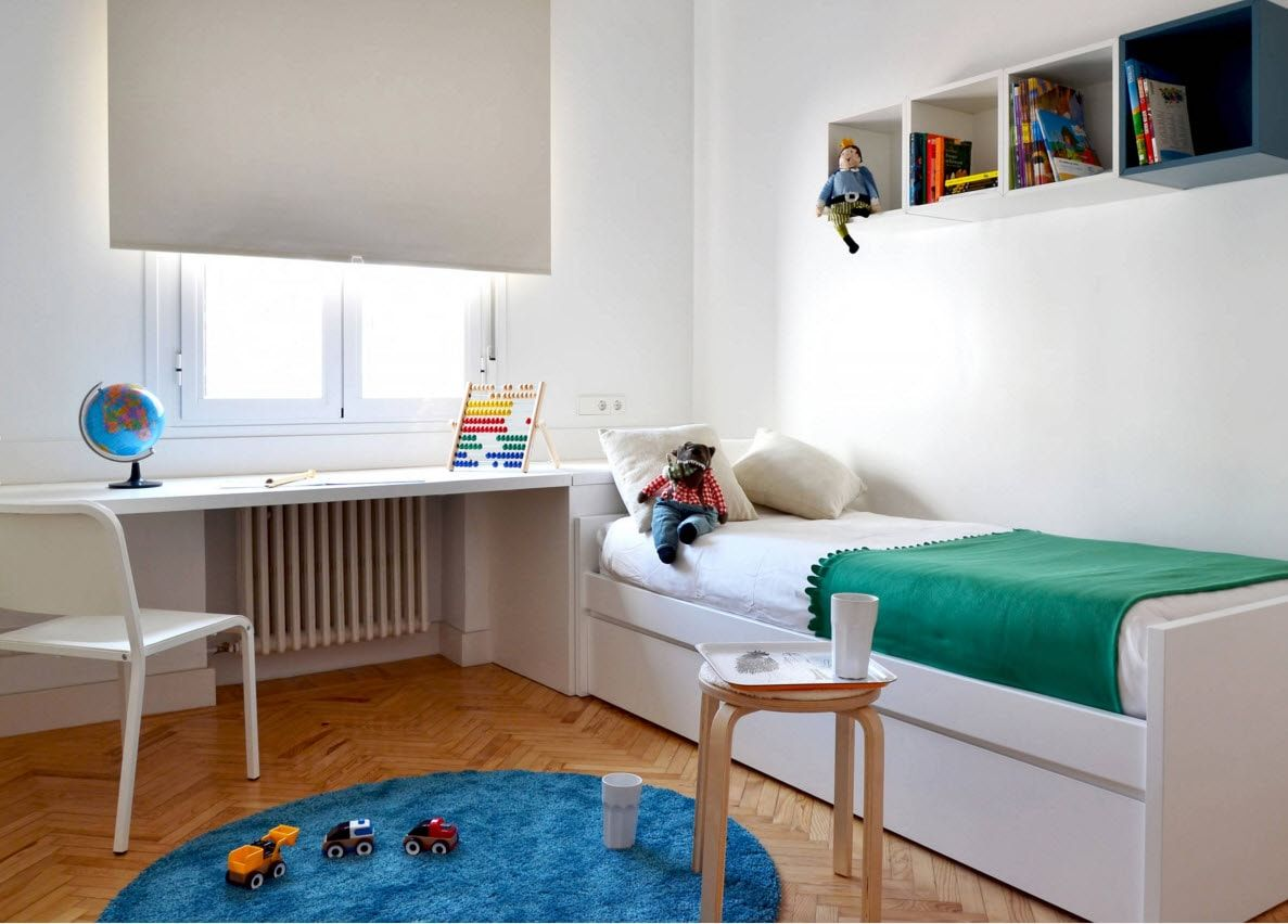 Design Examples Of Small Kidsu0027 Rooms For Boys Decoration. White Austere  Atmosphere For The